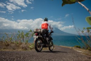 Riding along the beach roads in Flores Island
