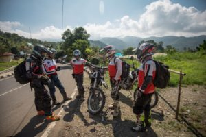 Morning Ride Briefing in Moni after an early visit to the Kelimutu crater lakes at sunrise