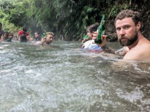 Natural Spa relaxation in a hot spring on Flores Island
