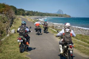 We ride along the beach in south Flores on our way to Wae Rebo