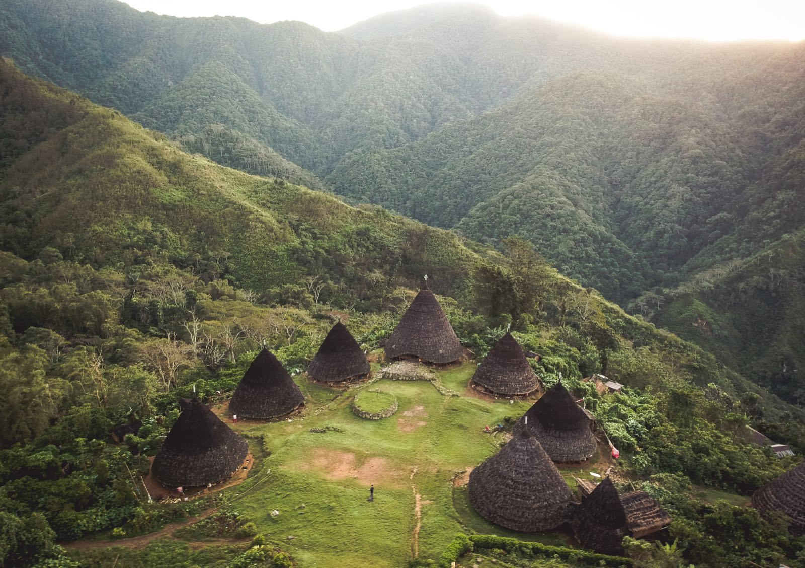 Aerial view of Wae Rebo village with a DJI drone