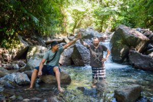 Morning swim in a remote waterfall on Flores Island