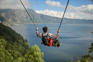 Bali Swing with amazing view of Mount Batur and the volcanic lake