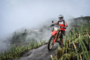 Riding through the Bromo farming area on the outside of the crater