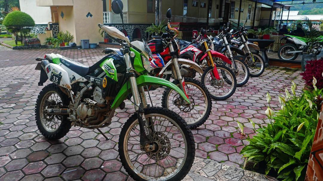 Dirt Bike Line Up in front of the local guesthouse inside the Wurung crater