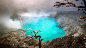 The blue lights from Ijen volcano in Java