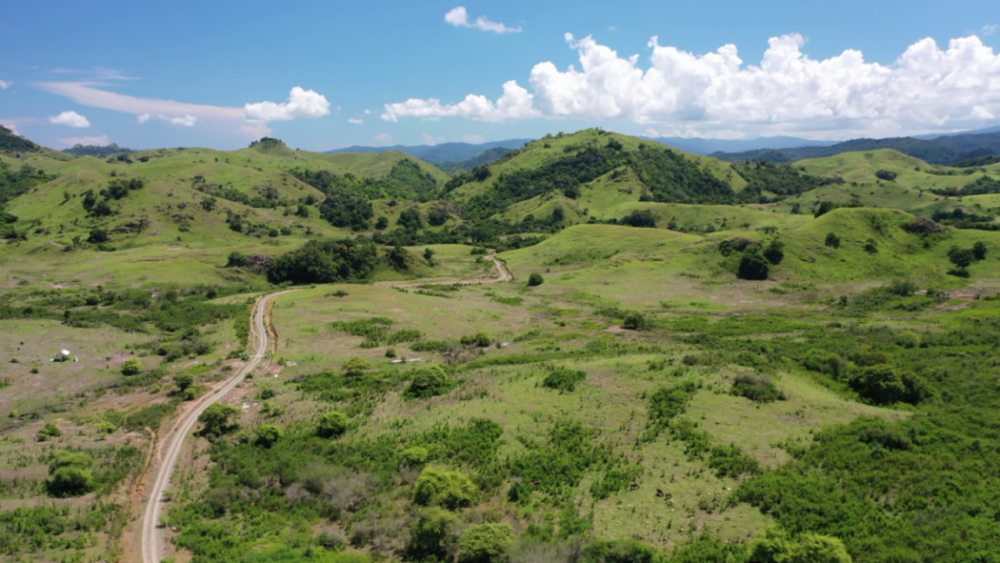 Labuan bajo mountain trails in Flores leading south past Rinca and Komodo islands
